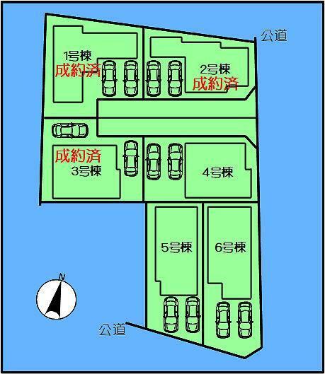 区画図 4号棟と5号棟の最終2邸です。 詳細、お気軽にお問い合わせください。