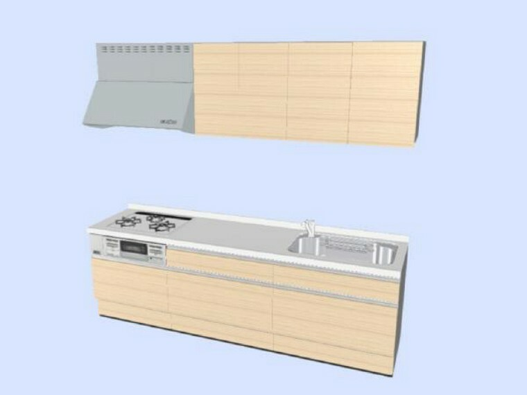 専用部・室内写真 【同仕様写真】ハウステック製のシステムキッチンを新しく取り付けます。3口コンロで料理がはかどりますね。