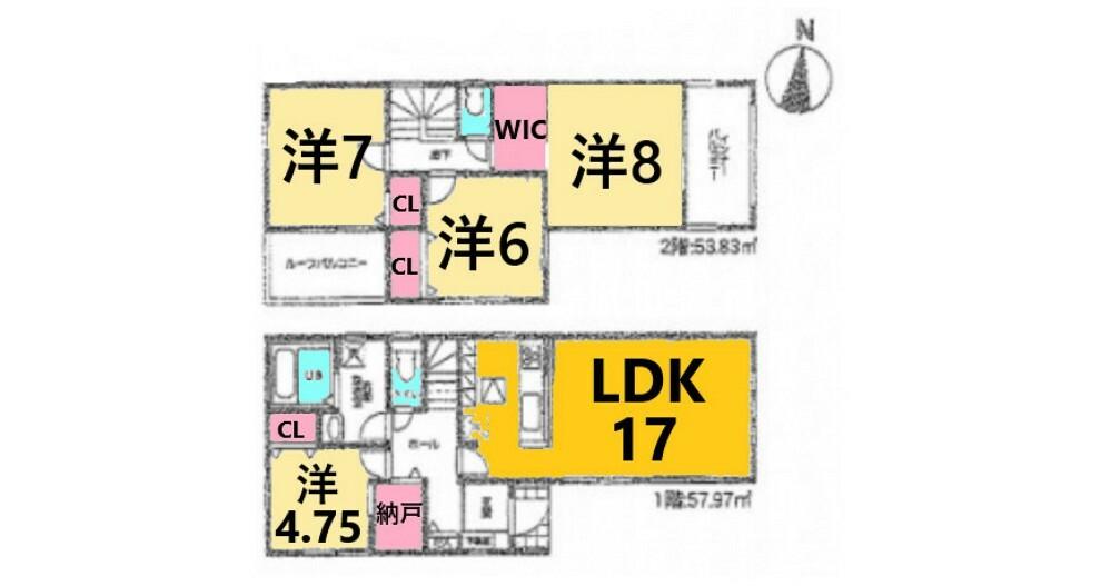 間取り図 土地面積:122.00平米、建物面積:111.80平米、4LDK