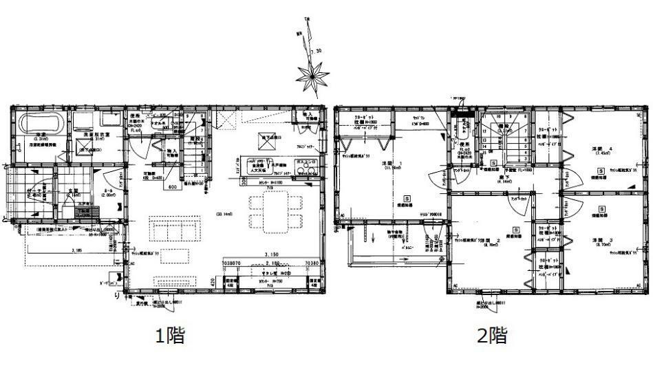 間取り図 3530万円、4LDK、土地面積101.22m2、建物面積99.36m2 JR五日市駅徒歩30分