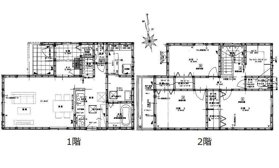 間取り図 3480万円、3LDK、土地面積101.78m2、建物面積91.91m2 JR五日市駅徒歩30分