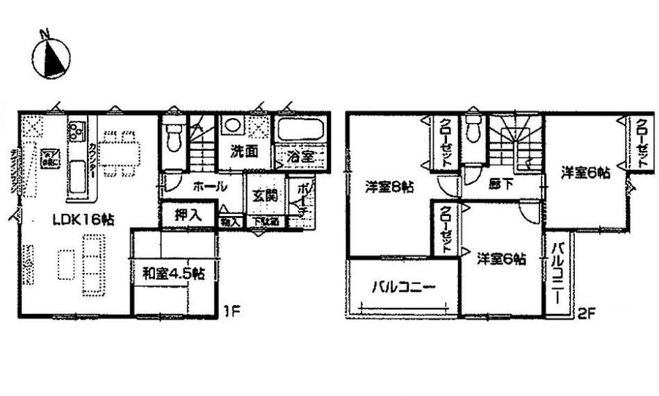 間取り図 3080万円、4LDK、土地面積103.73m2、建物面積94.77m2
