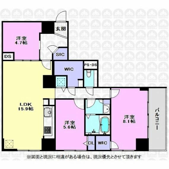 間取り図 15.9帖のLDKと主寝室8.1帖の広さがある大きな3LDK間取りです。