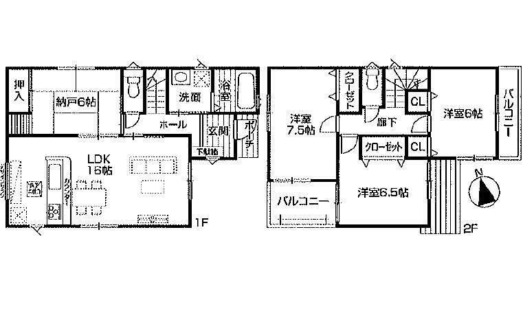 間取り図 2980万円、4LDK、土地面積108.79m2、建物面積98.01m2