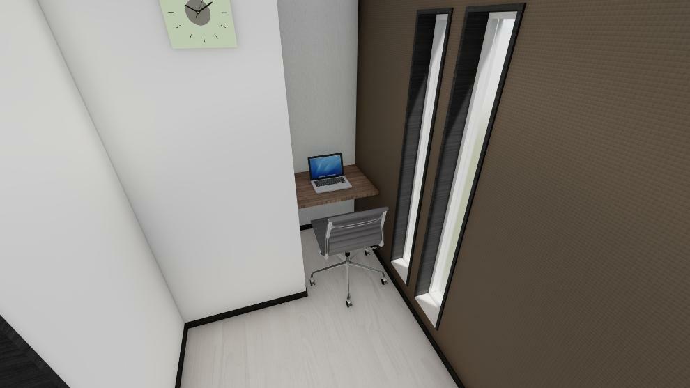 完成予想図(内観) 1F書斎(ワーキングスペース)のイメージ、テレワークに丁度良いスペースです。 ※家具、家電等は建物本体に含まれません