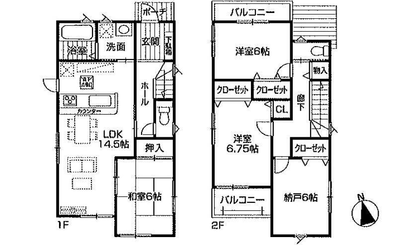 間取り図 2980万円、3LDK+S(納戸)、土地面積108.04m2、建物面積96.79m2