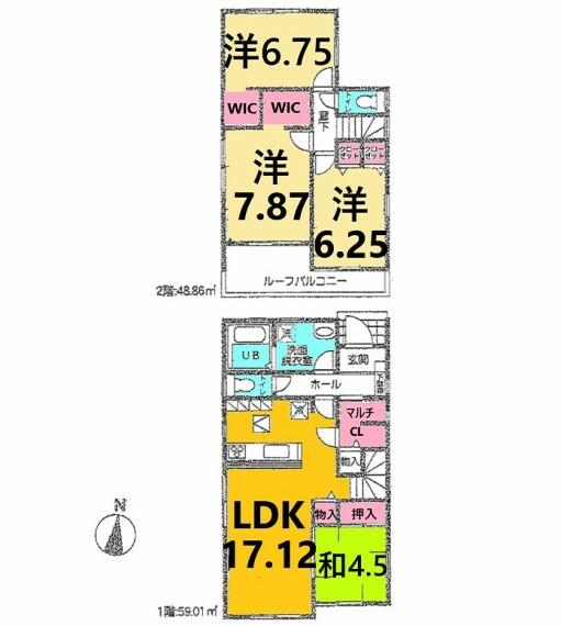 間取り図 土地面積:127.85平米、建物面積:107.87平米、4LDK
