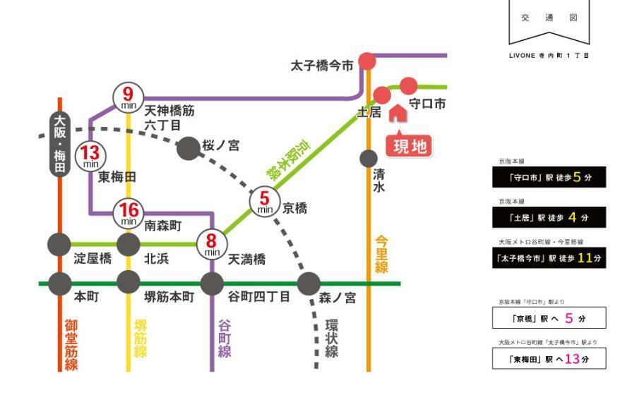 LIVONE寺内町は、京阪本線・谷町線が利用でき、梅田・天王寺・京橋・淀屋橋などへの乗換なしでアクセス可能。京都方面へのアクセスも良い2WAYアクセスが利用できる便利な立地です。