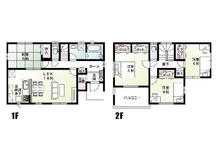 間取り図 B号棟:間取り図・・・LDKと2階の洋室は、南向きですので日当たり良好な間取となっております。