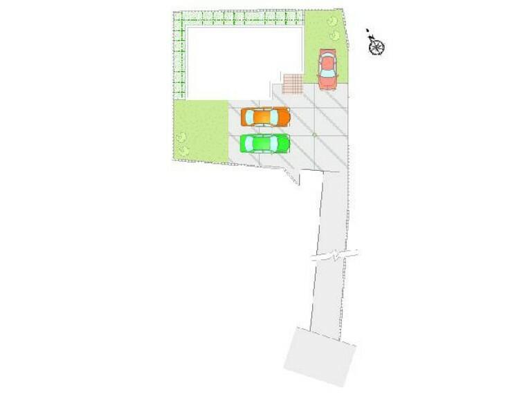 区画図 B号棟:配置図・・・車は3台駐車可能。