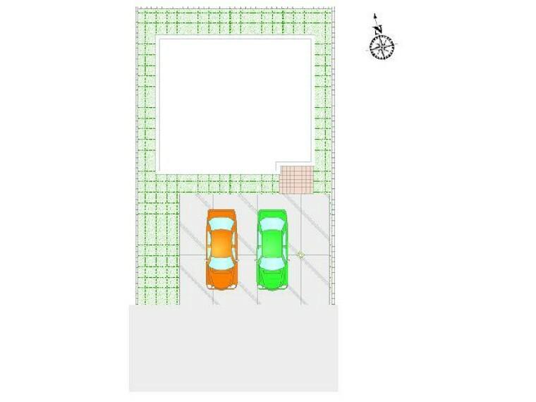 区画図 C号地 区画図・・・3台並列が可能な物件となっております。