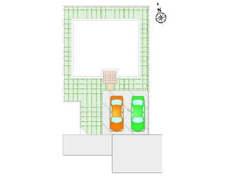区画図 D号棟 区画図・・・駐車場は並列で3台可能です。