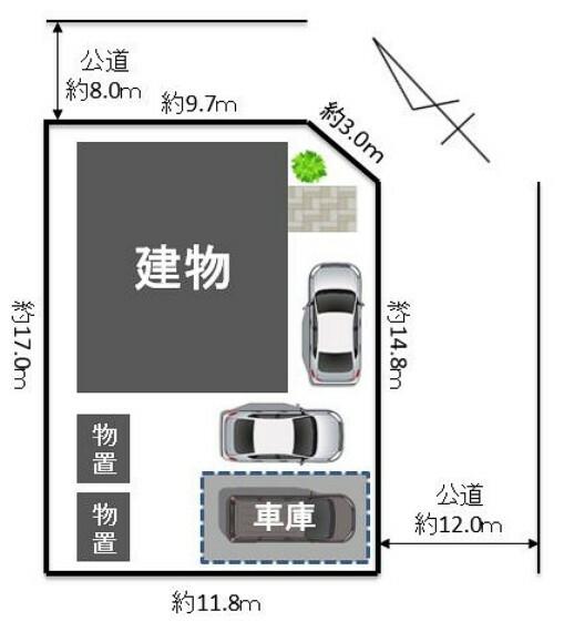 区画図 【敷地配置図】北東×南東、8m公道×12m公道の角地です。3台駐車可能、車庫・物置付きです。