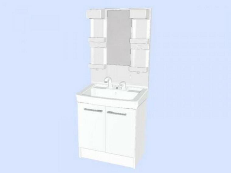 脱衣場 【リフォーム中】洗面化粧台。LIXIL製の洗面化粧台に新品交換します。壁・天井クロスと床はクッションフロアを張り替えます。清潔な空間で、朝の支度も気持ちよく出来そうです。