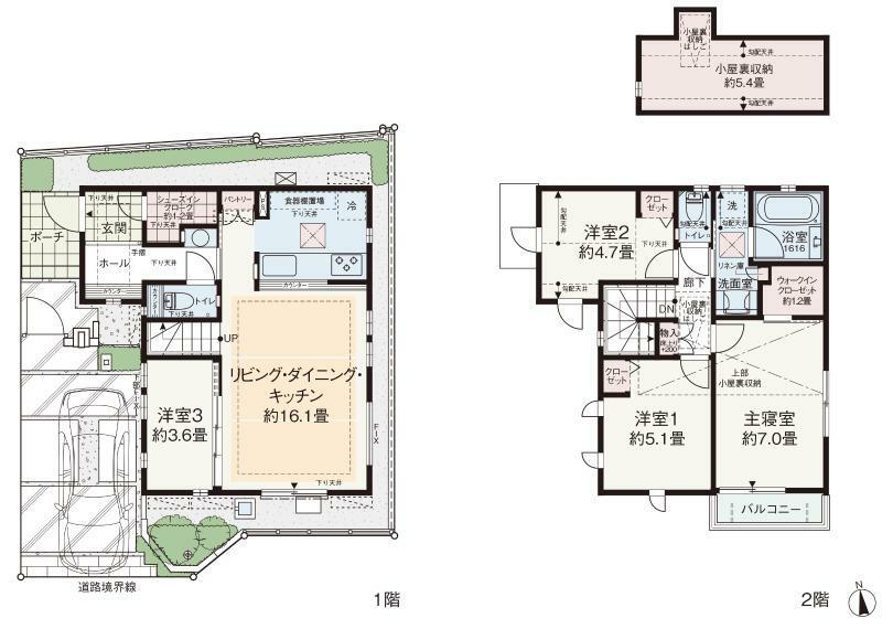 """間取り図 No.2 4LDK+SIC+WIC+小屋裏収納 敷地面積:91.76平米 建物面積:90.98平米   団欒と個の時間を大切にした開放感あふれる4LDKの住まい。  ■洗面スペースを玄関ホールに設置することで、帰宅後すぐの手洗いやうがいなど、清潔な習慣が身につきます。  ■洋室3は、ライフスタイルに合わせてセレクトプランが選べるので""""自分らしい暮らし""""を叶えられます。  ■シューズインクロークやウォークインクローゼット、小屋裏収納など、随所に収納スペースを設け、スッキリとした空間を演出します。  ■2階の洗面室は、洗濯してから階段を通らずバルコニーへ行けるので、日々の家事をサポートしてくれます。"""
