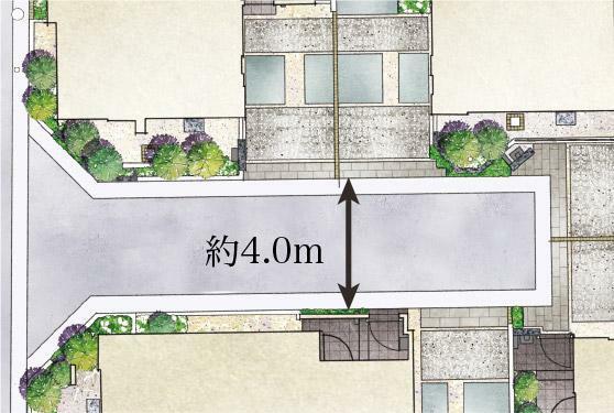 完成予想図(外観) 【ゆとりと開放感を生む約4.0mの街区内道路】 街区内道路の幅員を約4.0m確保。開放感や日当たり、安全性はもちろん、住人のコミュニティの場や車の出し入れもスムーズな空間を生み出しています。
