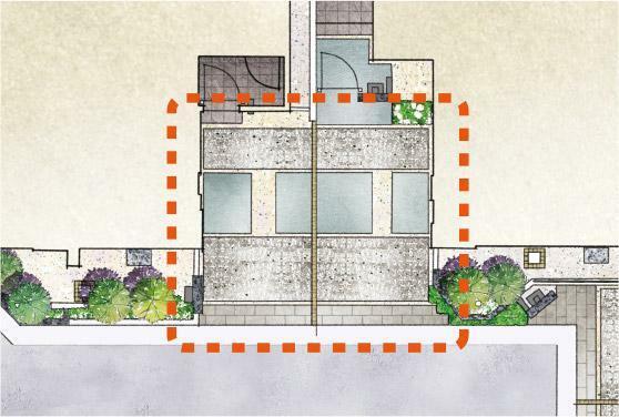完成予想図(外観) 【街区内の空間に広がりをもたらすカーポートレイアウト】 カースペースを隣り合わせることで、隣棟間隔が広くなり開放的なスペースを創出。街区全体にゆとりと明るさをもたらします。