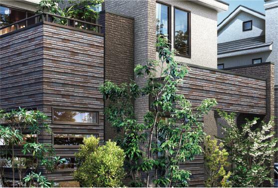 完成予想図(外観) 【バットレスや袖壁の重なりが紡ぎだす重厚感】 バットレスや袖壁には、自然な風合いを醸す石調のタイルをあしらい、建物に立体感と重厚感を持たせることで、家としての存在感と個性を創出します。