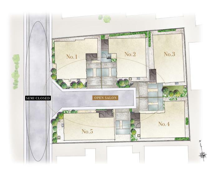 区画図 結界性と開放感が織り成す、洗練された美街区。 重厚なマテリアルを纏った外観が、街の景観に馴染みながら美しい街並みを創造。 植栽を配したコーナーウォールとバットレスが私的領域の結界性を演出し、敷地内の開発道路、カーポートのつながりが開放感をもたらしています。
