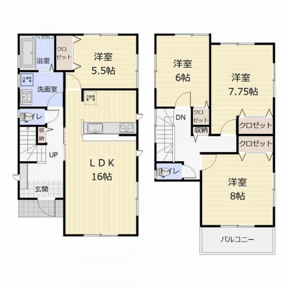間取り図 (3号棟)日用品ストックにも便利な廊下収納あり〇