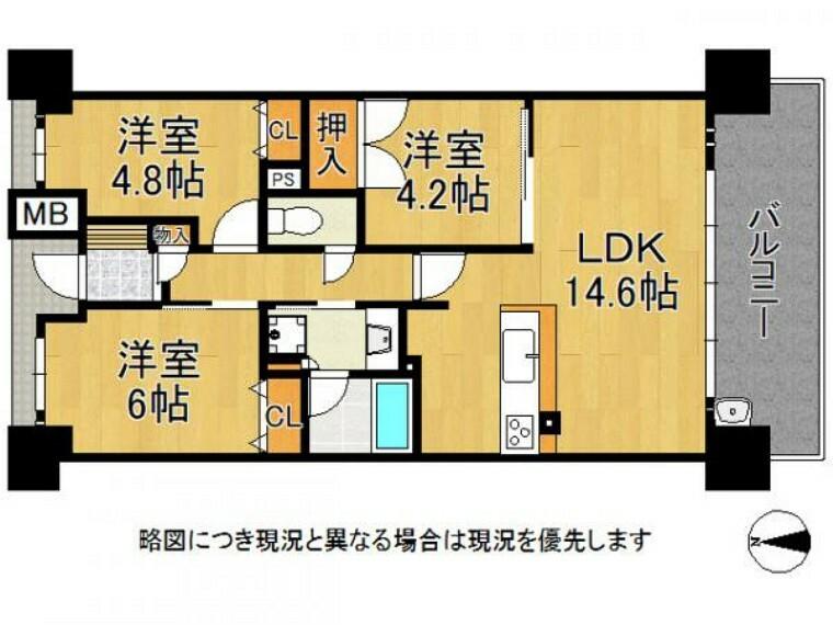 間取り図 各居室収納付きのゆとりある3LDK!
