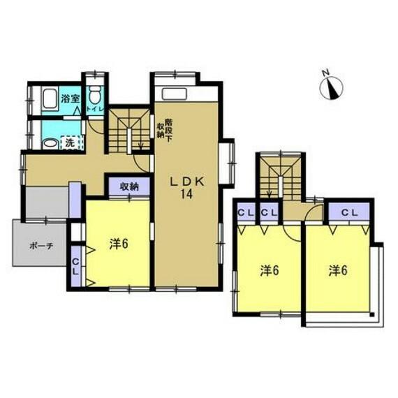 間取り図 【リフォーム済】3LDKの2階建てです。2間続きの和室をリビングに変更し、開放的な空間に仕上げました。