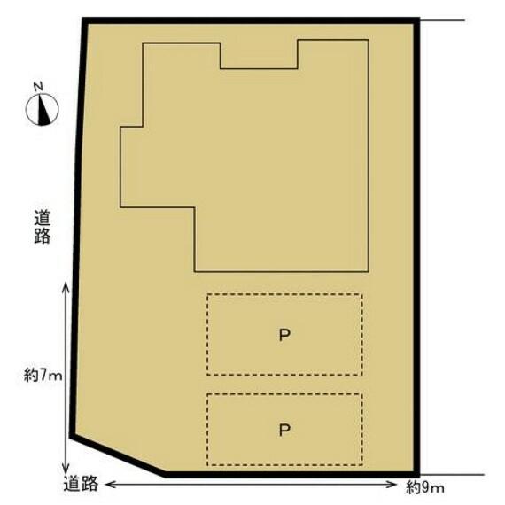 区画図 【リフォーム済】駐車場は2台はラクラク停めれるようになりました。間口も広く駐車もしやすいので来客が来ても安心ですね。