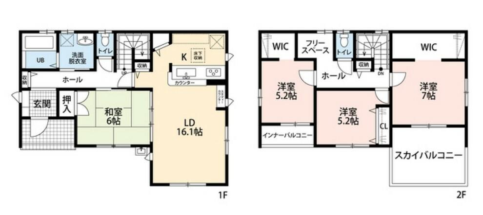 間取り図 LDKと和室を合わせると22帖の大空間となります。内覧も出来ますのでお気軽にお問い合わせください^^