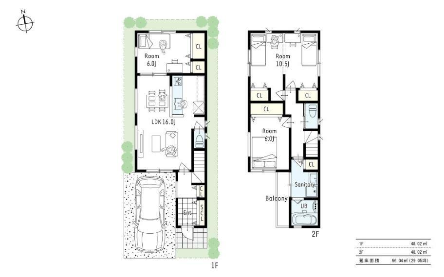 参考プラン間取り図 参考プラン3■4LDKの2階建てプラン。2階水廻りから直接バルコニーへ出ることができ、洗濯物が干しやすい動線に。また10.5帖の洋室は将来間仕切りで家族が増えても安心です!