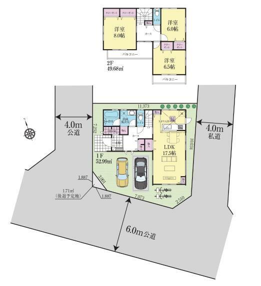 間取り図 玄関土間収納、床下収納、洗面室収納、リビング収納、ホール収納、収納豊富なので荷物の多いファミリーにも嬉しい間取りです