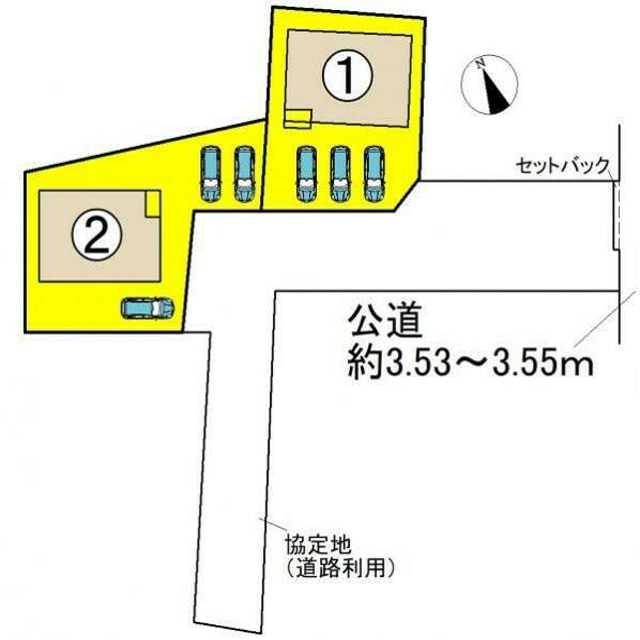 区画図 ●本物件は1号棟です● 駐車3台可能です!