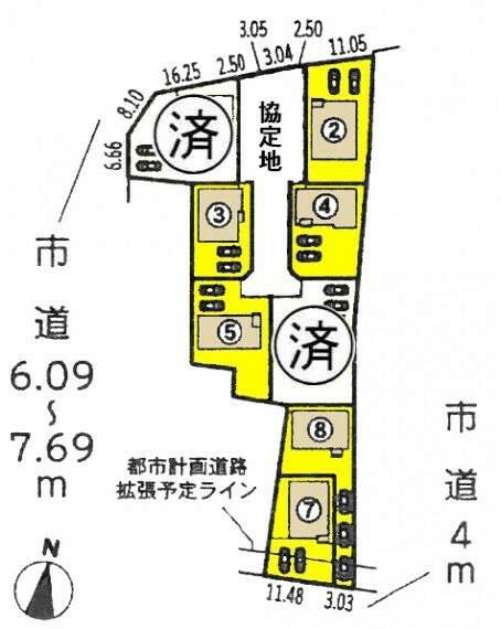 区画図 本物件は7号棟です。