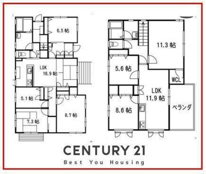 間取り図 1Fと2Fで分離型二世帯住宅!!