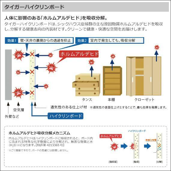 防犯設備 シックハウス症候群の原因となるホルムアルデビドを吸収し分解してくれるハイクリンボードを採用。