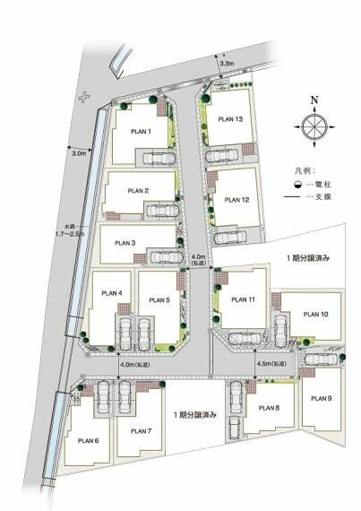 区画図 明るく開放感が溢れ、安全にも配慮した街。  カースペースを抱き合わせにすることで街に開放感を演出し、陽だまりスポットを創りあげていきます。また、街のゲート部分の他、車が曲がる箇所に隅切りをする事で走行の安全を図っています。