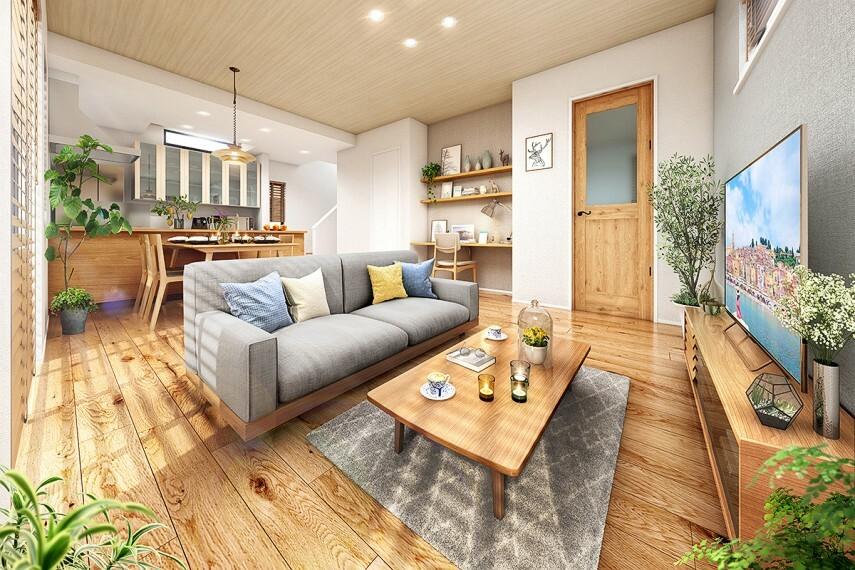 居間・リビング 【家族と繋がる心地よいリビング】  天井の高いリビング。視界が広がるキッチン。リビングは、家族が自然と集まってきそうな居心地の良い空間に仕上げました。リビングに集まることが楽しくなる開放感です。