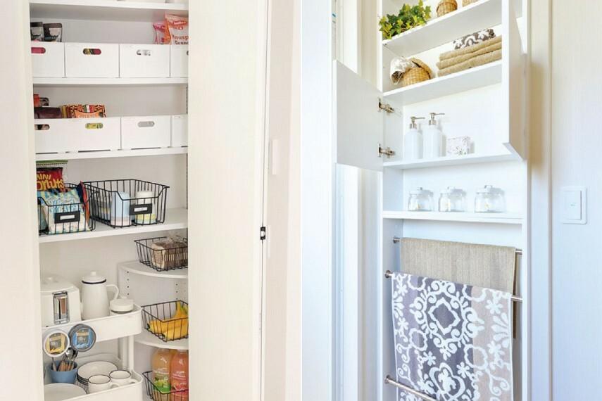 収納 【クリーンニッチ・ホール収納】  洗剤やタオルをストックできるクリーンニッチを洗面室に。掃除用具や季節の家電をしまえる収納をホールに設置。必要な物をいつでも気軽に取り出せます。