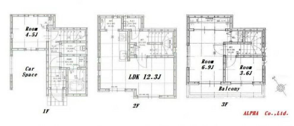 間取り図 建物面積86.74m2 南東向きの陽当たり良好な室内空間。暮らしの中心となるLDKを軸に3部屋確保された快適な住空間です。無駄な廊下スペースを最小限に抑える事で快適な住空間を演出しております。