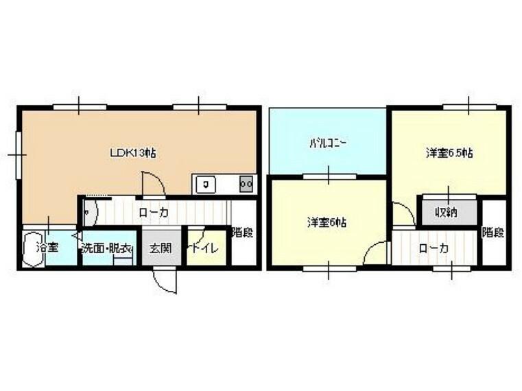 間取り図 【リフォーム中】1階に約13帖のLDKと2階に6帖2部屋のコンパクトなオウチです、お一人からお二人様には丁度良いオウチです、駐車場は4~5台可能ですのでお客様の訪問にも便利です