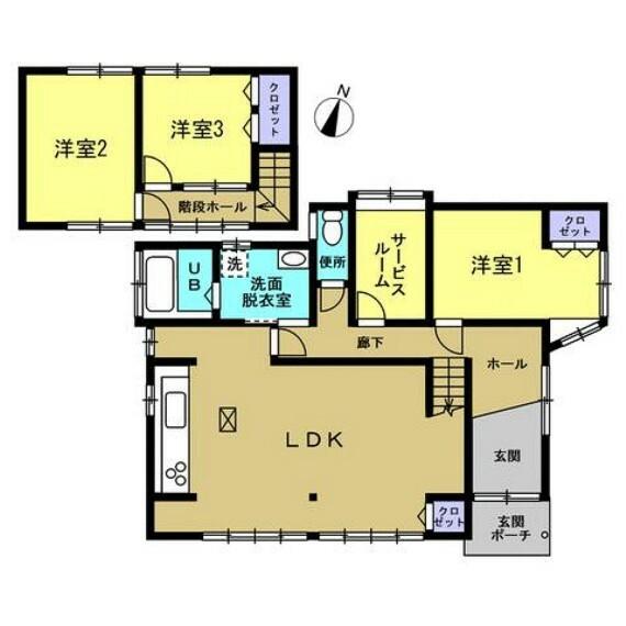 間取り図 【リフォーム後間取り図】3SLDKのお家です。水回りも全て新品に交換をします。サービスルームもあり、すっきりお部屋が使えます。