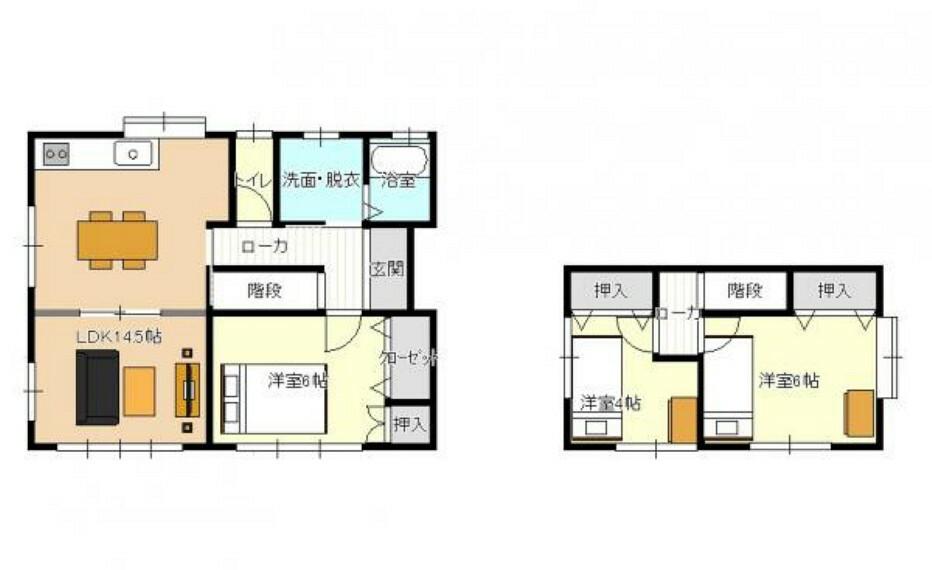 間取り図 【リフォーム後間取り図】間取り図です。DKと和室を間取り変更を行いLDKにします。2階も1部屋ですが、2部屋に分け3LDKになります。