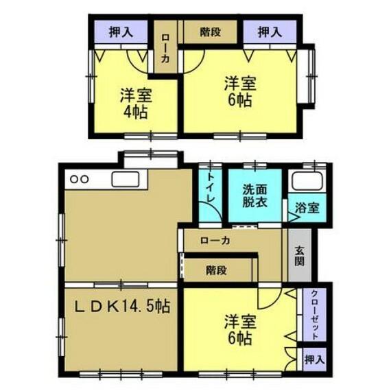 間取り図 【リフォーム後間取り図】間取り図です。DKと和室を間取り変更を行いLDKにしました。2階も1部屋でしたが、2部屋に分け3LDKに変更しました。