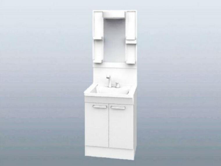 【同仕様写真】洗面化粧台はTOTO製の新品に交換します。スクエアなデザインの洗面ボウルは間口60cm、実容量7Lと広々。水が流れやすい滑り台ボウルで全体に水がいきわたります。