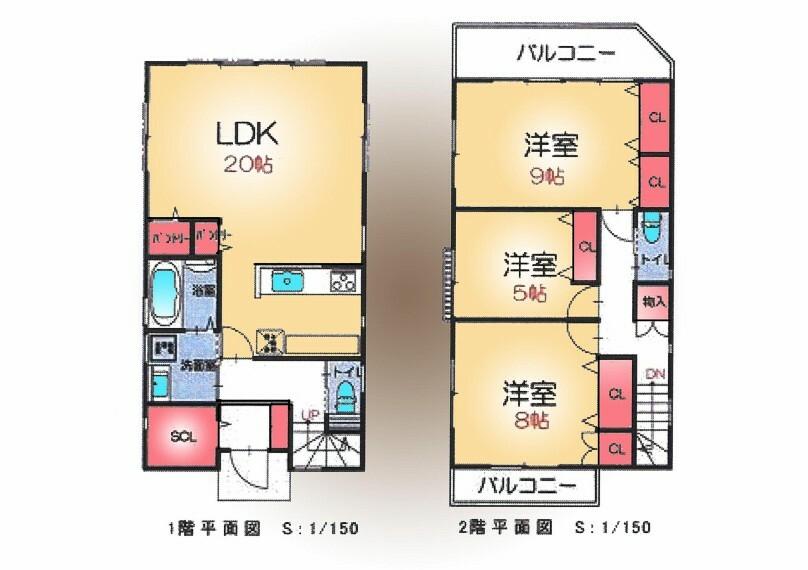 間取り図 おうち時間を快適に過ごせるゆったり20帖のLDKございます。SICやパントリー、その他全居室に収納スペースございます。