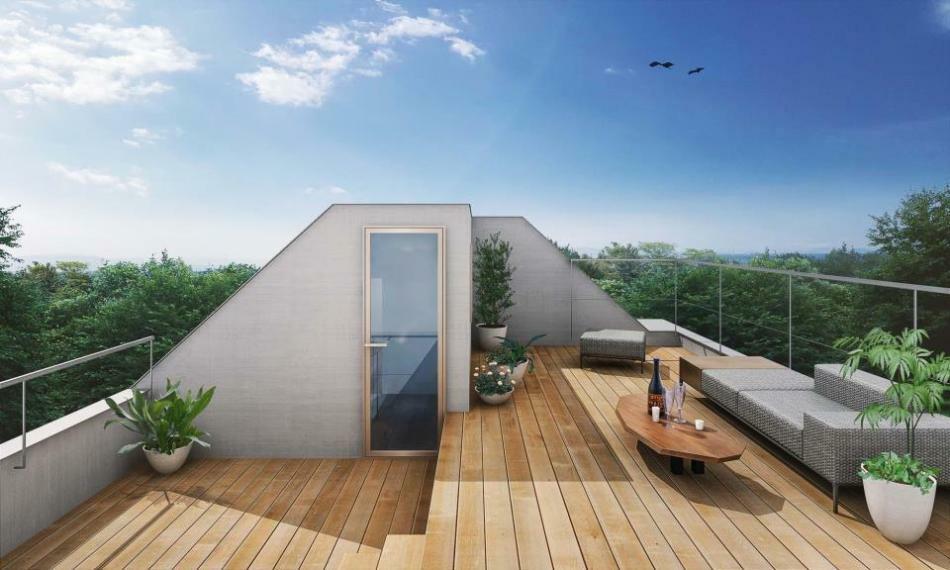 完成予想図(外観) 天空リビング(屋上スカイバルコニー)は趣味の場としてやお洗濯など実用的な場としてご利用いただけます!(※完成予想パース)