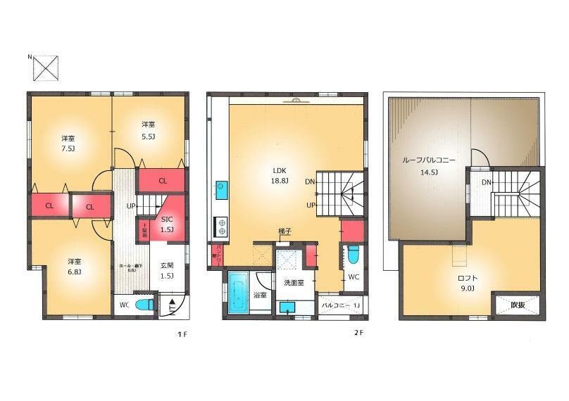 間取り図 TAISEIこだわりの考え尽くされた設計^^陽当り風通し眺望良好のルーフバルコニー。1階洋室は間取り変更可能なフレキシブルタイプ。収納スペース豊富。多様性のある便利なロフト付き。
