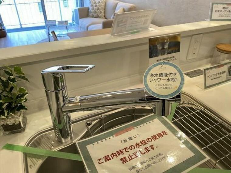 キッチン 浄水器一体型水栓、シャワー水栓でシンクの隅々まできれいに洗えます。