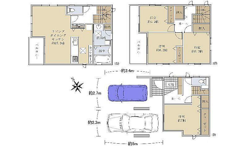 間取り図 3180万円、4LDK、土地面積78.39m2、建物面積110.95m2 JR安芸長束駅徒歩7分