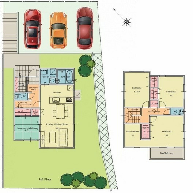 間取り図 各部屋ゆとりの広さがあり、駐車場も敷地内に並列3台分確保されています。
