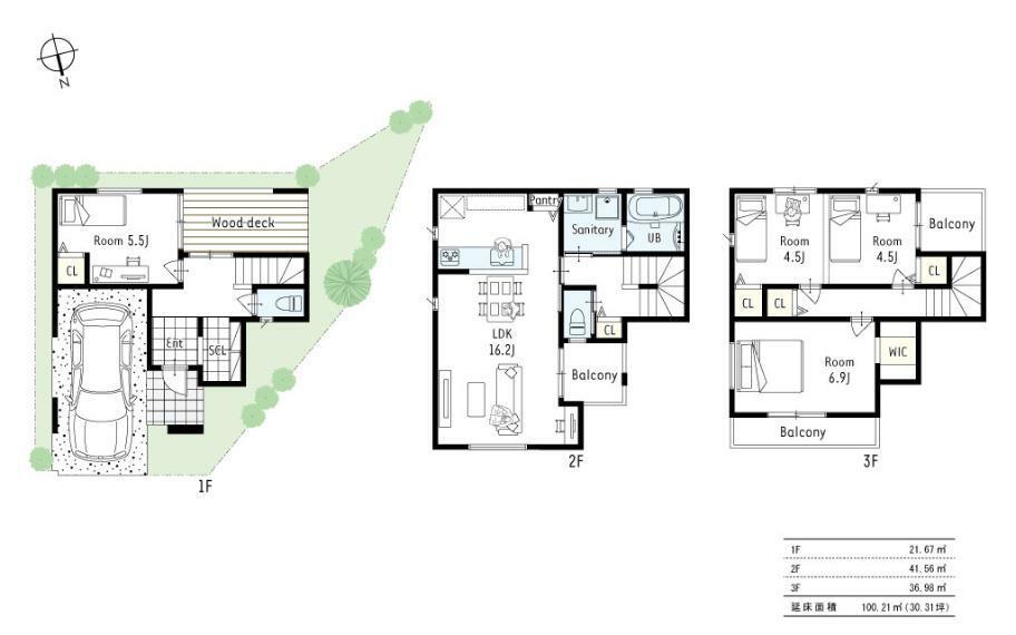 間取り図 プラン図■シューズクロークからも玄関に上がれる2WAY玄関を採用。突き当りにはウッドデッキを設置し、家族で食事を取ったり、夏にはキッズプールもできます!2階に水廻をまとめたので家事動線もバッチリです!